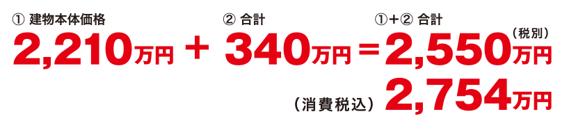 ①建物本体価格2,210万円 + ②合計340万円 = ①+②合計(税別)2,550万円 (消費税込)2,754万円